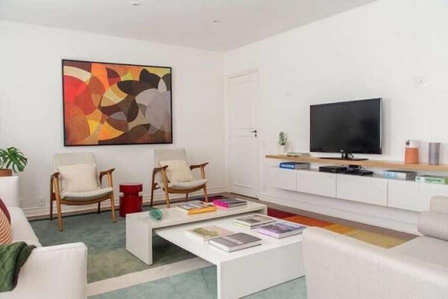 decoração para sala toda branca com quadro grande colorido Foto Pinterest