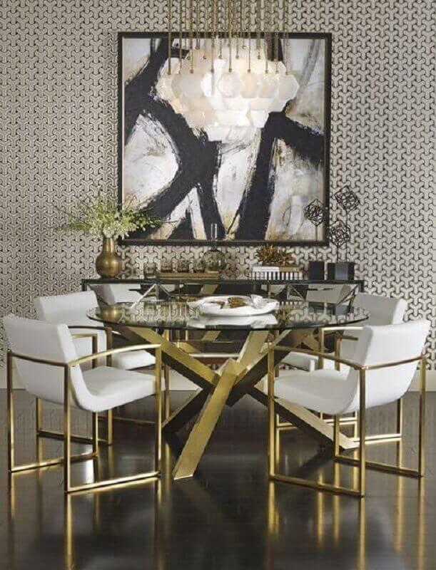 decoração sofisticada com base dourada para mesa redonda de vidro  Foto Pinterest
