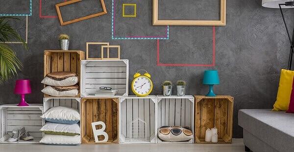 decorar estantes caixotes