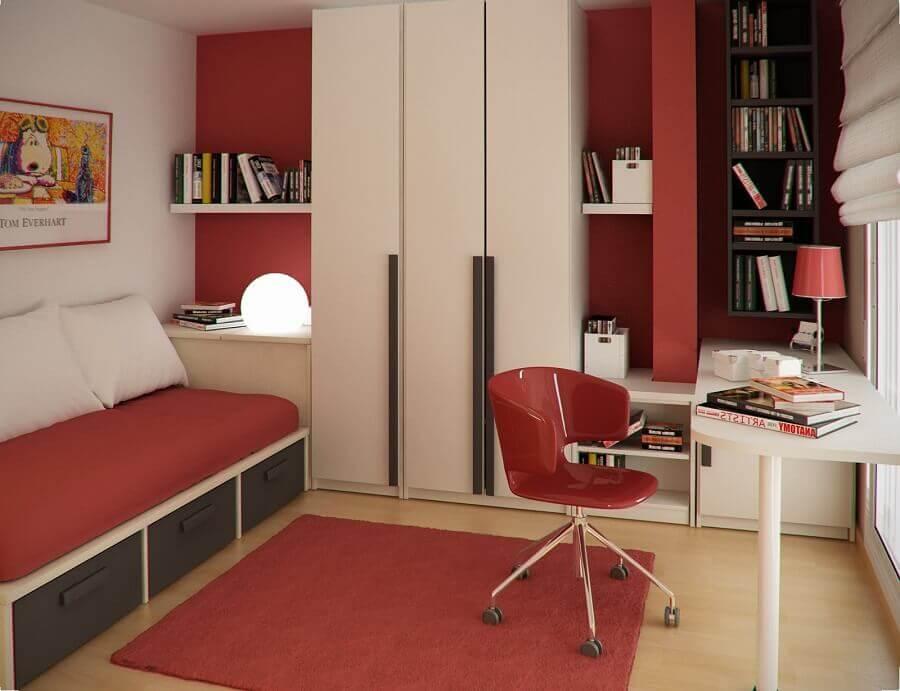 guarda roupa modulado solteiro para quarto com decoração branca e vermelha