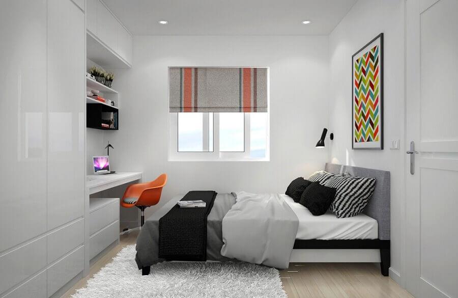 guarda roupa solteiro branco para quarto com decoração clean