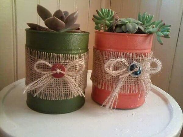 latas decoradas com barbante