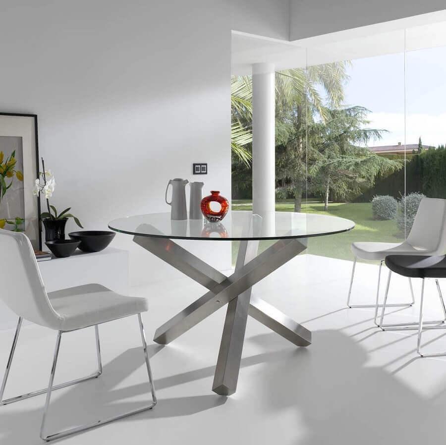 mesa de jantar redonda de vidro com base de metal moderna  Foto Pinterest