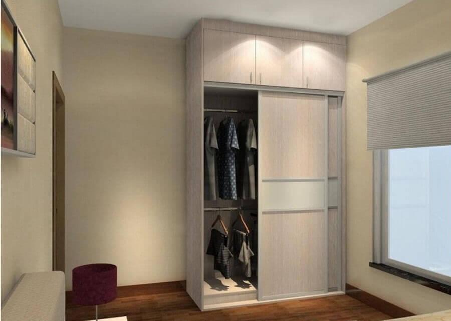 modelo simples de guarda roupa solteiro porta de correr