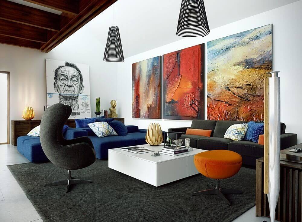 modelos de quadros para sala grande decorada