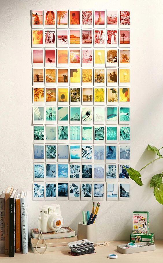 Mural de fotos colorido