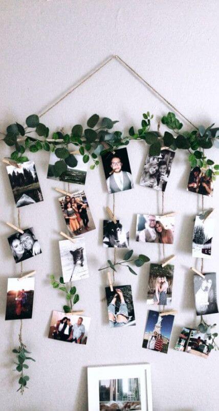 Mural de fotos com plantas