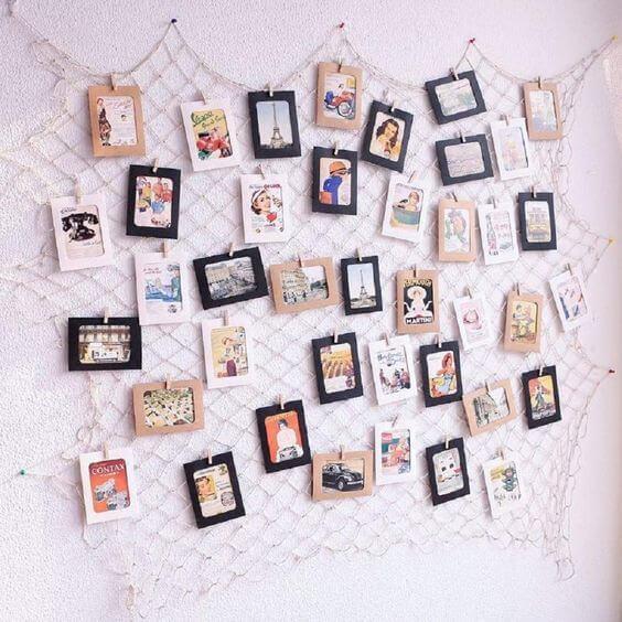 Mural de fotos criativo para decorar o quarto