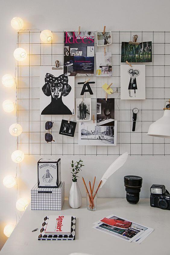 Mural de fotos iluminado para decorar escritório