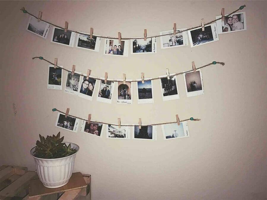 mural de fotos feito com barbante