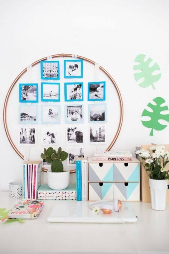 Mural de fotos pequeno para decorar a escritório
