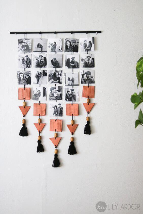 Mural de fotos criativo DIY