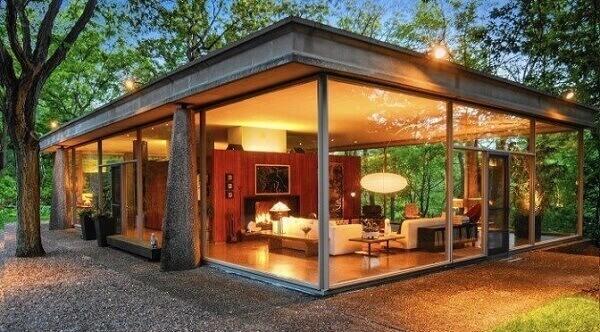 parede de vidro para ambientes externos