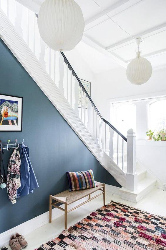 Paredes decoradas com parede azul
