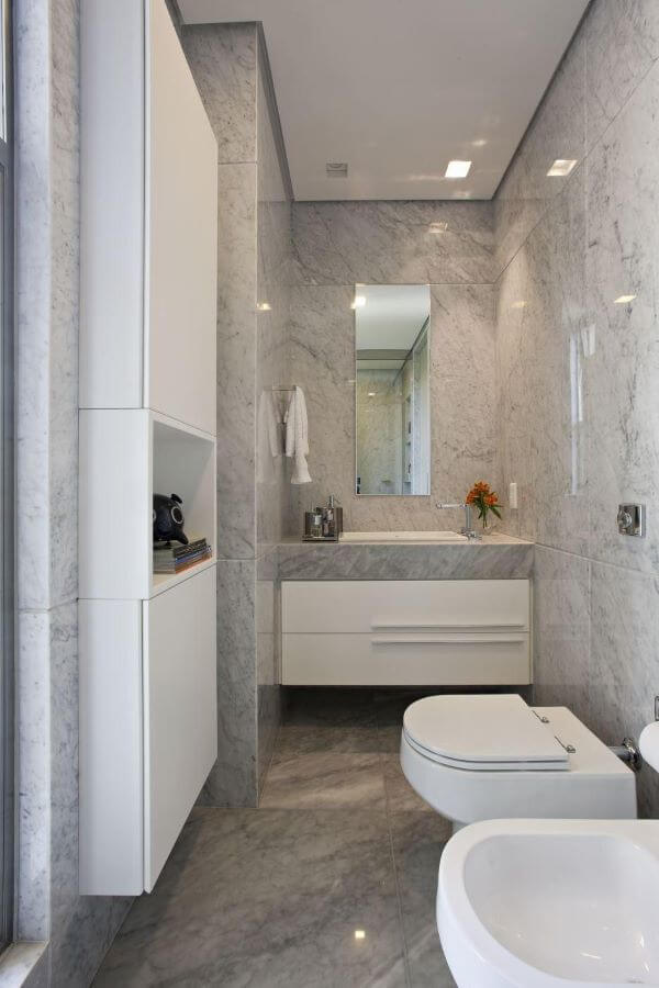 Piso para banheiro cinza