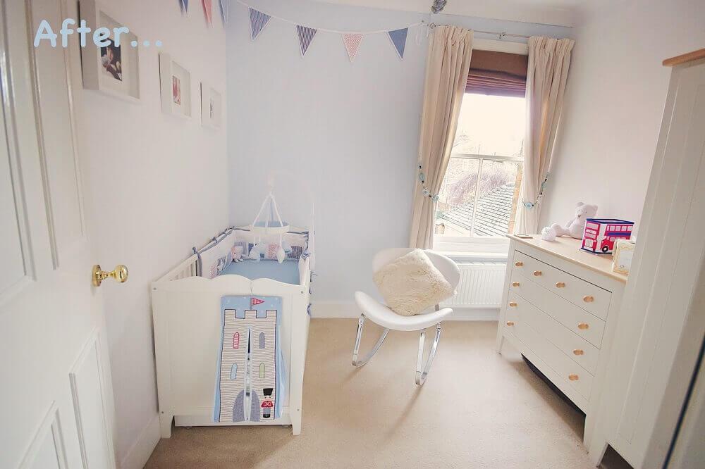 poltrona moderna para quarto de bebê pequeno decorado