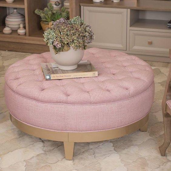 puff redondo - puff redondo rosa