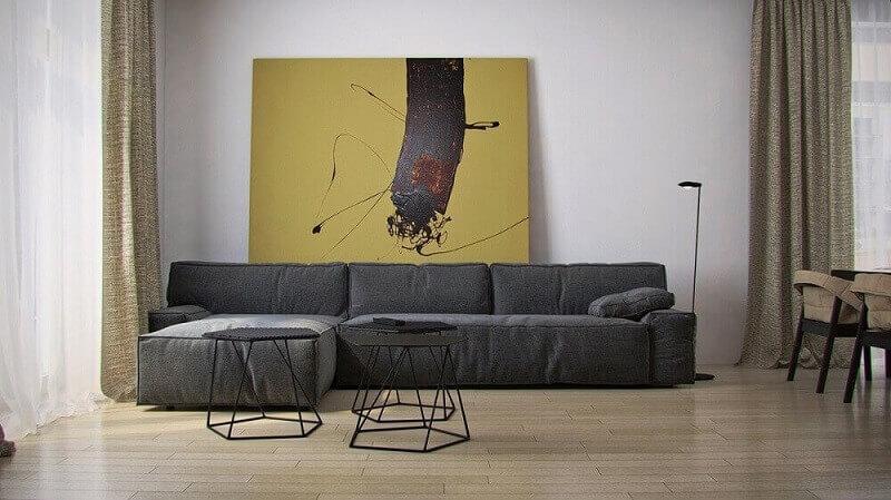 Quadros grandes para sala com decoração minimalista