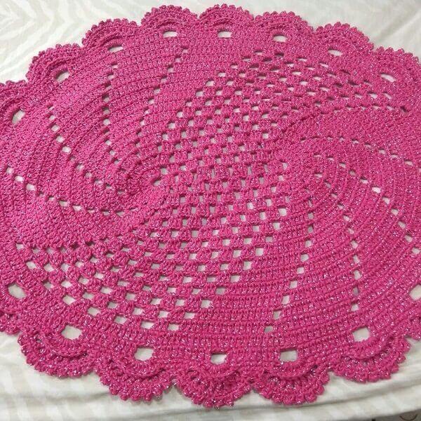 Tapete de crochê rosa pink