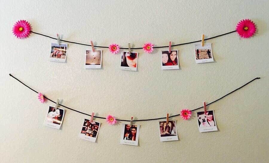 varal de fotos decorado com flores