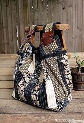Bolsa de patchwork com tecido firme