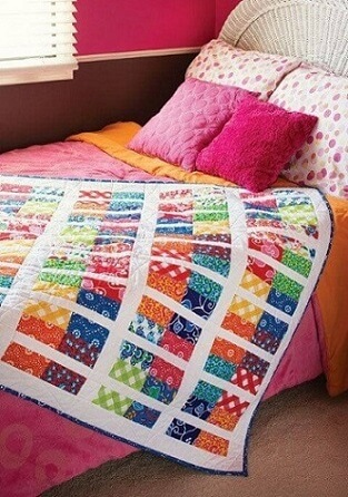 Colcha de patchwork colorida