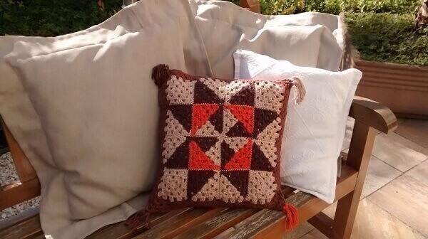 Crochê almofadas para varanda
