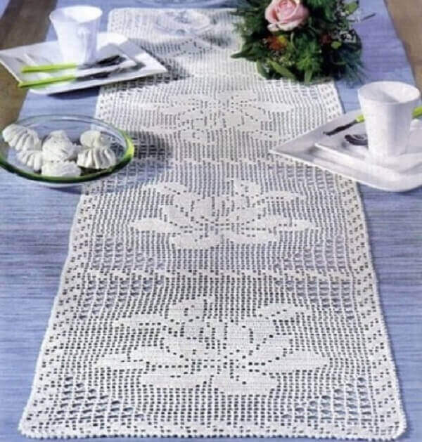 Crochê caminho mesa branca
