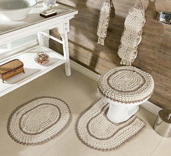 Crochê jogo para banheiro