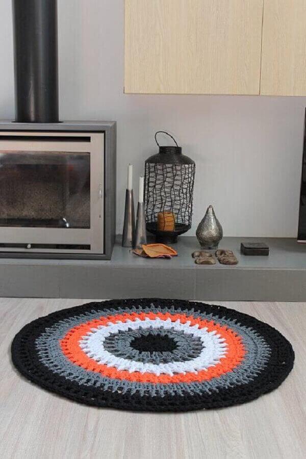 Crochê tapete para sala de estar
