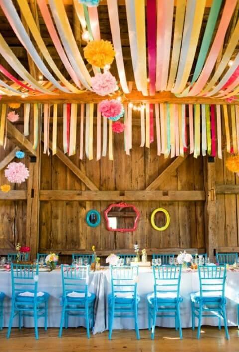 Decoração com papel crepom em decoração rústica Foto de Pinterest
