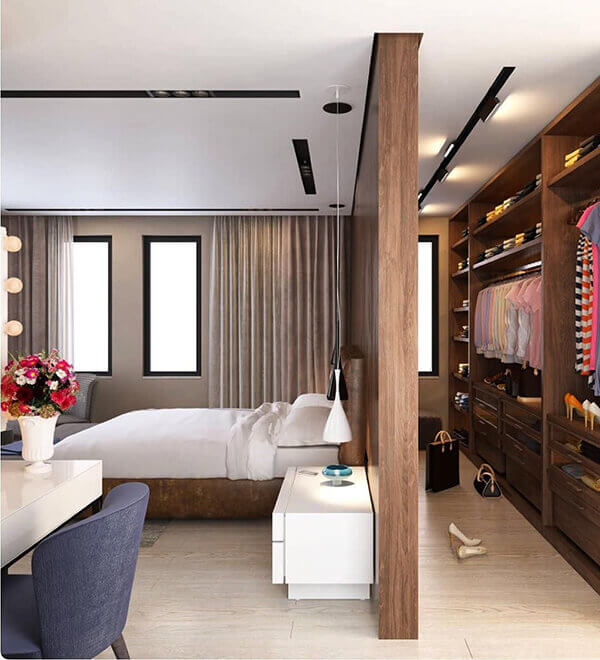 Divisória de madeira em quarto