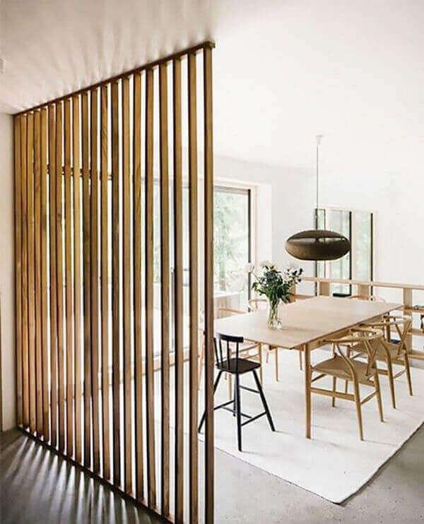 Divisória de madeira nos ambientes