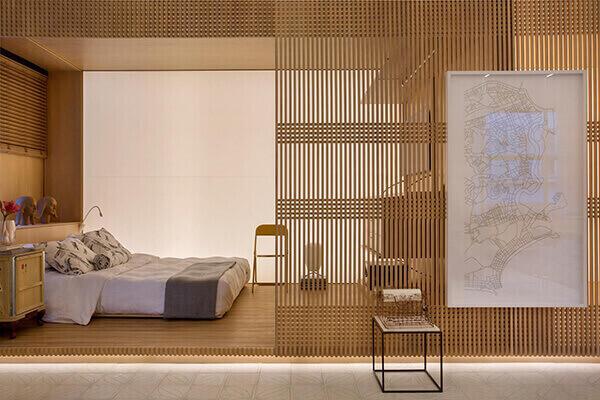 Divisória de madeira para quarto moderno