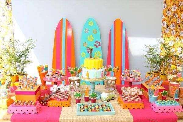 Festa havaiana decoração de mesa