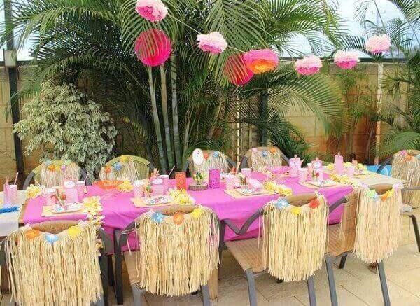 Festa havaiana decoração de mesa dos convidados