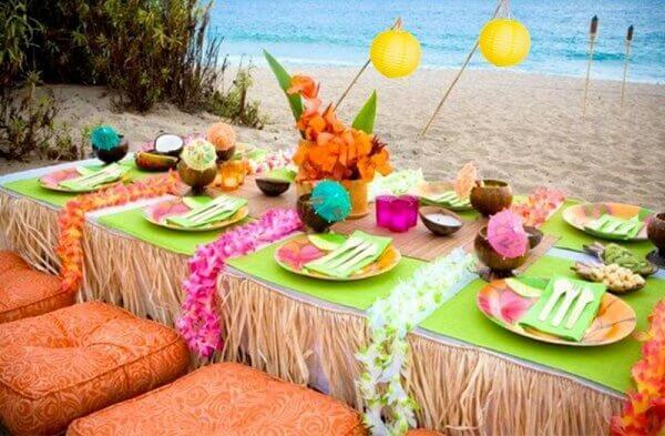 Festa havaiana decoração na praia