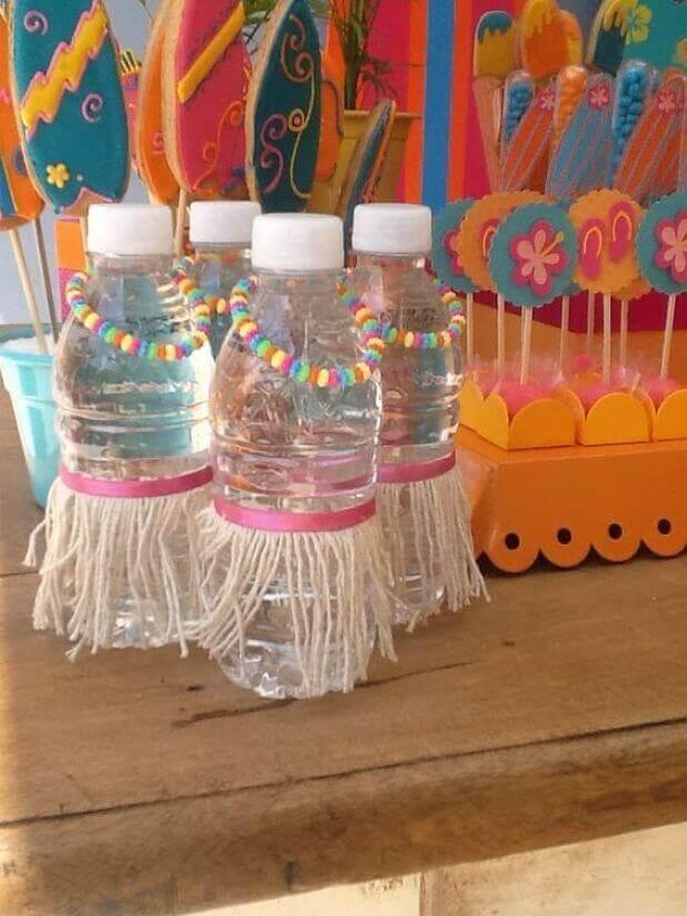 Festa havaiana decoração de garrafinha de água