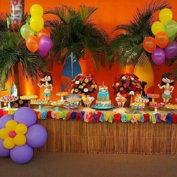 Festa havaiana infantil colorida e alegre