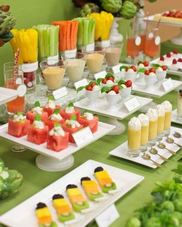 Festa havaiana mesa com frutas