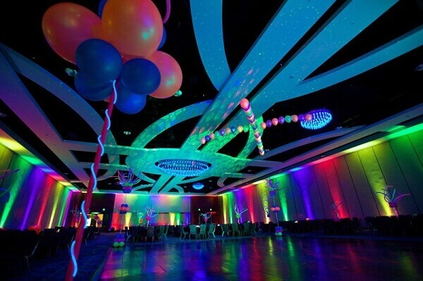 Festa neon espaço de evento