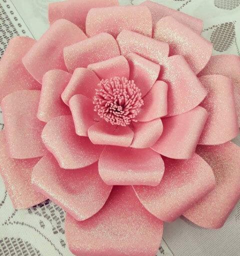 Flor grande de EVA cor de rosa com glitter