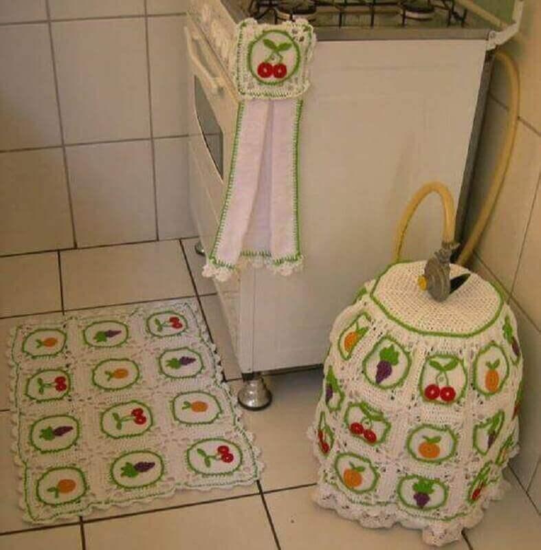 Jogo de tapete de crochê para cozinha com estampa de frutas Foto de Pinterest