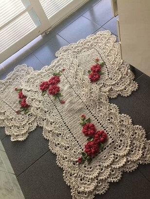 Jogo de tapete de crochê para cozinha com flores cor de rosa Foto de Mercado Livre