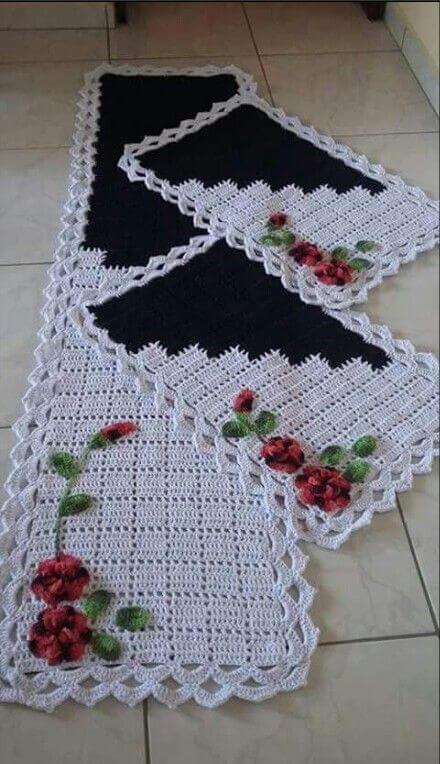 Jogo de tapete de crochê para cozinha preto e branco com flores Foto de Pinterest