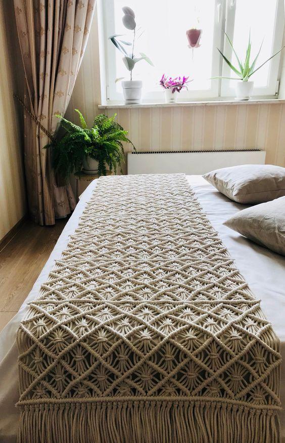 Manta para cama em macrame