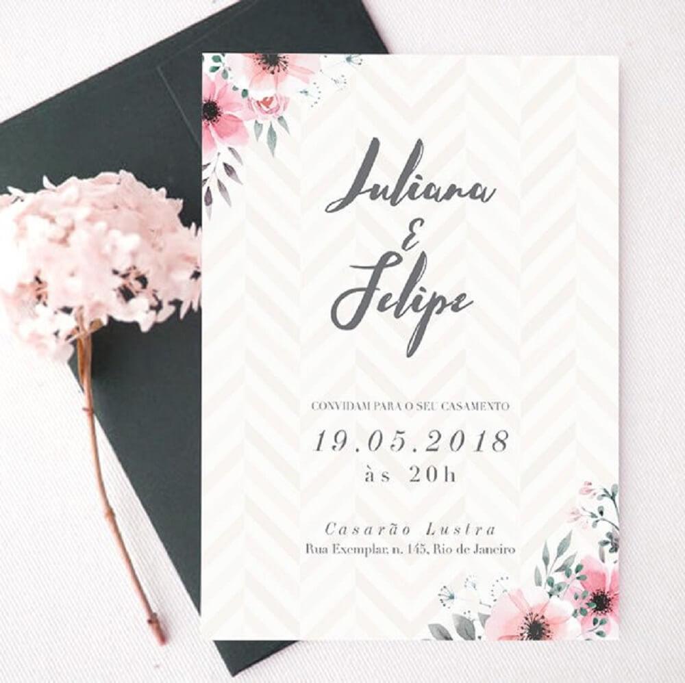 Modelo de convite de casamento simples para encantar os convidados
