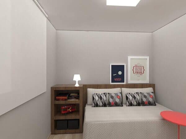 Modelos de quartos com criado mudo e abajur pequeno