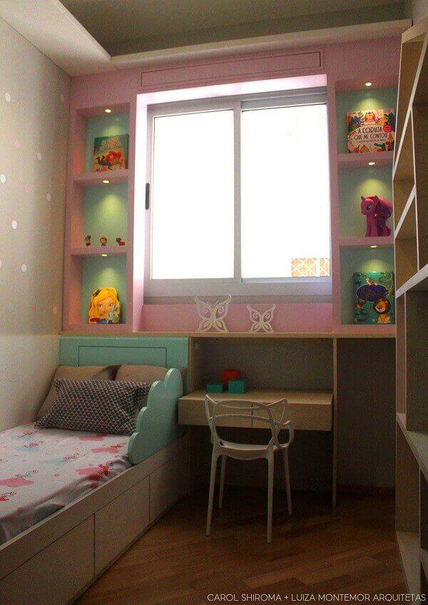 Modelos de quartos com decoração rosa e verde