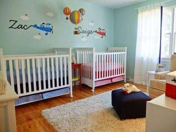 Modelos de quartos de bebê para gêmeos